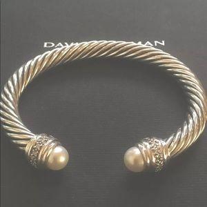 David Yurman Pearl Diamond Bangle 7mm Cable